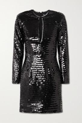 HANEY Alexandra Cutout Sequined Tulle Mini Dress - Black