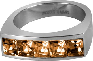 Jacques Lemans S-R46P52 Ring Solid Stainless Steel with Sparkling Swarovski Crystals Size 52 / M 1/2