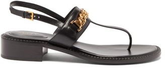 Gucci Sylvie Chain-embellished Leather Sandals - Black