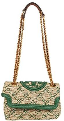 Tory Burch Fleming Soft Straw Small Convertible Shoulder Bag (Natural/Arugula) Handbags