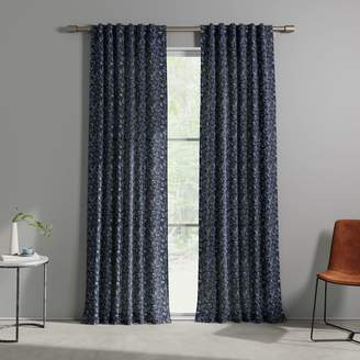 west elm Cotton Canvas Tossed Ferns Curtains (Set of 2) - Midnight