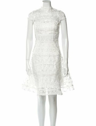 Alexis Lace Pattern Knee-Length Dress White