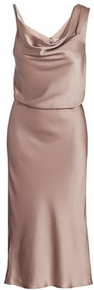 Halston Satin Cowlneck Dress
