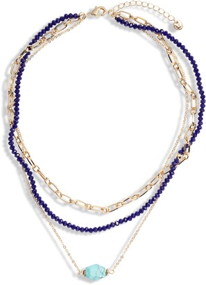 Halogen Faceted Semiprecious Stone Layered Necklace