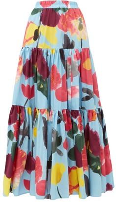 La DoubleJ Big Floral-print Poplin Maxi Skirt - Womens - Blue Print