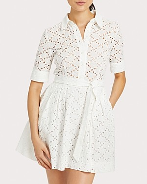 Milly Eyelet Cotton Shirt Dress