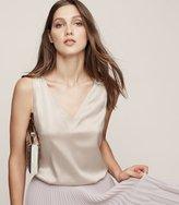 Reiss Coraline - Silk Front Tank Top in Brown, Womens