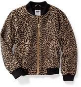 Old Navy Leopard-Print Jacquard Bomber Jacket for Girls