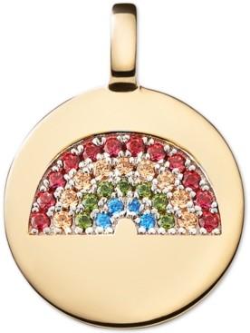 CHARMBAR Swarovski Zirconia Reversible Rainbow Charm Pendant in 14k Gold-Plated Sterling Silver