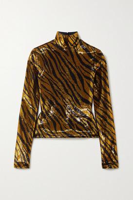 Balenciaga Sequined Tulle Turtleneck Top - Gold