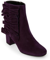 Alberto Zago Aubergine Ruched Suede Ankle Boots