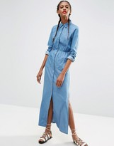 Asos Denim Maxi Shirt Dress in Light Blue Wash