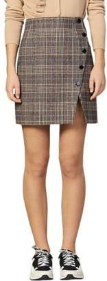 Sandro Nona Plaid Side Snap Wool & Cotton Blend Miniskirt