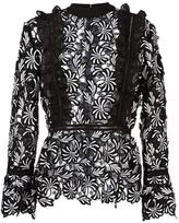 Self-Portrait paisley frilled top - women - Polyester - 10