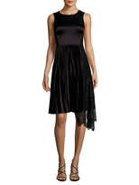 Karen Millen Women's Pleated And Patchwork Lace Dress