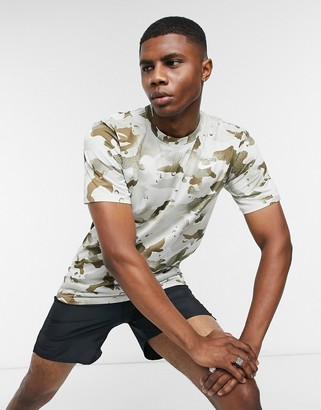Nike Training all over camo print t-shirt in beige