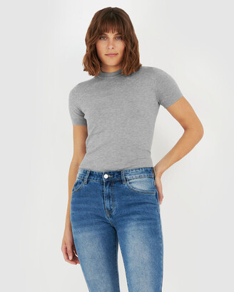 Forcast Women's Grey Workwear Tops - Catherine Short Sleeve Knit - Size One Size, XS at The Iconic