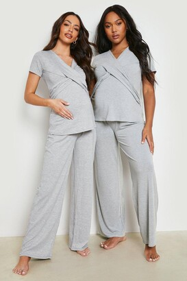 boohoo Maternity Wrap Front Nursing Pj Trouser Set