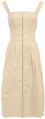 CASASOLA Pleated Zip-detailed Cotton-gabardine Dress