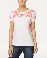 Charter Club Petite Cotton Embroidered Top, Only at Macy's