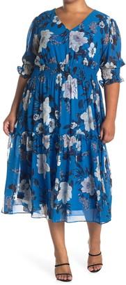 Taylor Floral Print Chiffon Smocked Dress