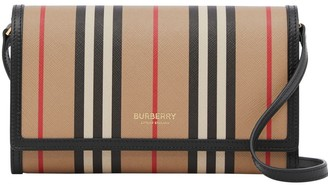 Burberry Icon Stripe E-canvas Wallet With Detachable Strap