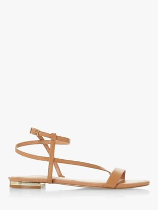 Dune Nicoletta Wide Fit Strappy Flat Leather Sandals, Camel