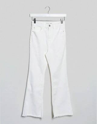 Stradivarius crop flare jeans in white