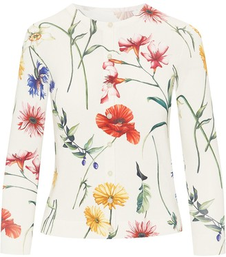Oscar de la Renta Fine-Knit Floral-Print Cardigan