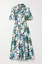 Thumbnail for your product : Jason Wu Collection Pleated Floral-print Cotton-poplin Midi Shirt Dress - White