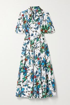 Jason Wu Collection Pleated Floral-print Cotton-poplin Midi Shirt Dress - White
