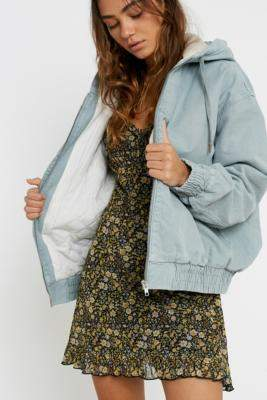 BDG Sherpa Hooded Skate Jacket - blue XS at Urban Outfitters