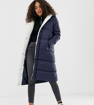 Brave Soul Tall hoplong padded coat with borg lining in navy