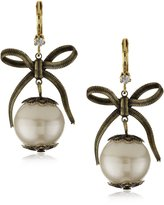 "Betsey Johnson Betsey Basics"" Pearl Drop Earrings"