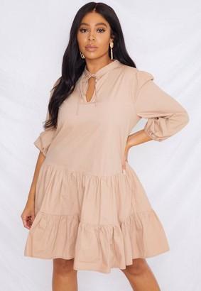 Missguided Size Mocha Tie Front Poplin Smock Dress