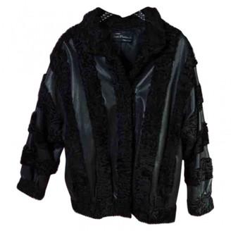 Astrakhan Non Signe / Unsigned Black Leather Jacket for Women Vintage