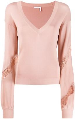 Chloé Knit And Lace V-Neck Sweater