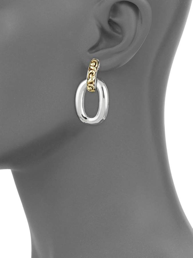 Charles Krypell Sterling Silver & 18K Gold Link Earrings