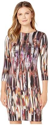 Karen Kane 3/4 Sleeve Sheath Dress (Print) Women's Clothing