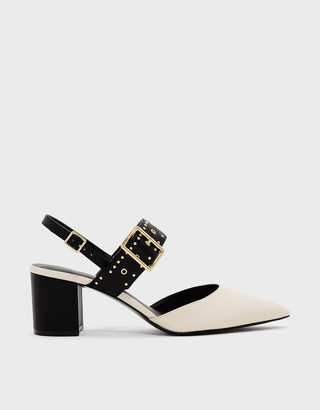 Charles & Keith Studded Pointed Slingbacks