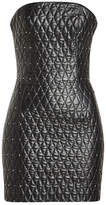 Jitrois Quilted Leather Bandeau Dress with Crystal Embellishment