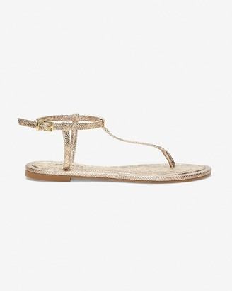 Express Barely There Snakeskin Print Thong Sandals