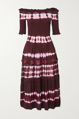 Altuzarra Ayaka Off-the-shoulder Smocked Tie-dyed Knitted Midi Dress - Burgundy