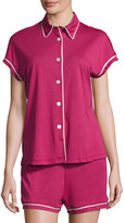Cosabella Bella Cap-Sleeve Shorty Pajama Set, Deep Ruby/Ivory
