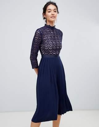 Little Mistress 3/4 Sleeve Lace Top Pleated Midi Dress-Navy