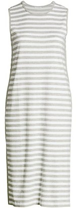 Joan Vass, Plus Size Striped Sleeveless Midi Dress