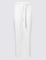 M&S Collection PLUS Pure Linen Wide Leg Trousers