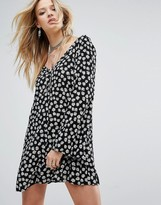 Glamorous Long Sleeve Button Front Tea Dress In Print