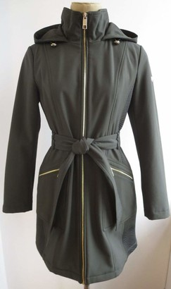 GUESS Women's Belted Soft Shell Hooded Jacket