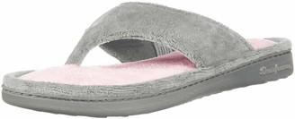Dearfoams Women's Melanie Colorblocked Microfiber Terry Thong Shoe Slipper